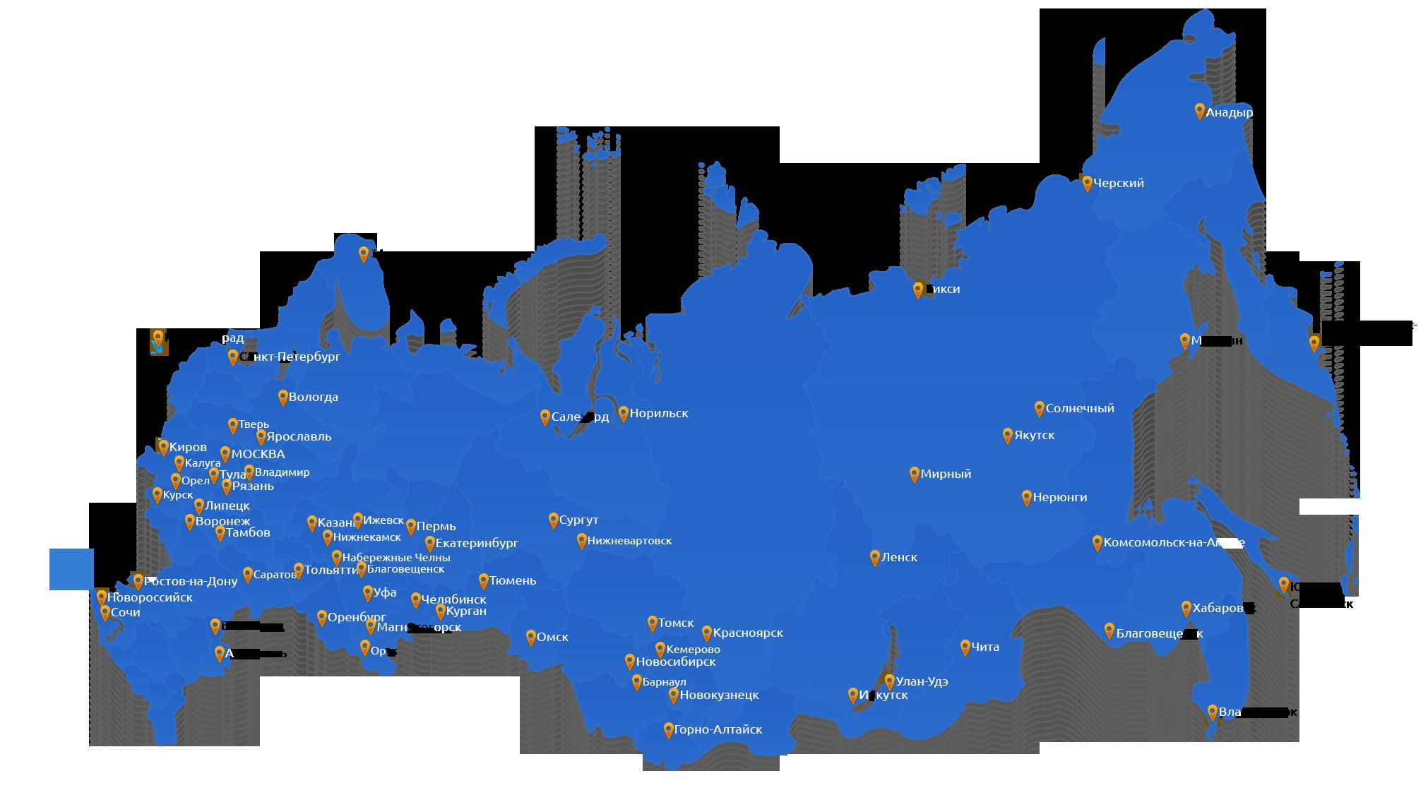 Карта доставки компанией ice-techno по России